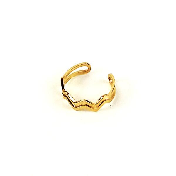Ατσάλινο Δαχτυλίδι Με Σχέδιο Ζικ Ζακ