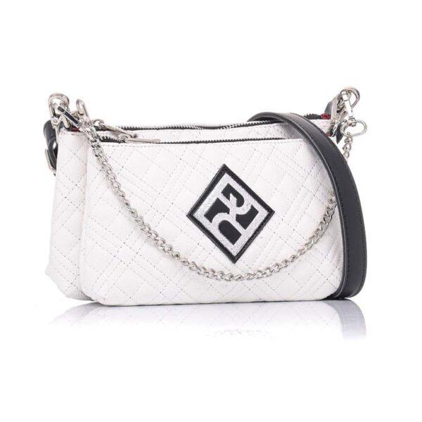 Τσάντα Χιαστί Διπλή Pierro Accessories 90631KPT07 WHITE