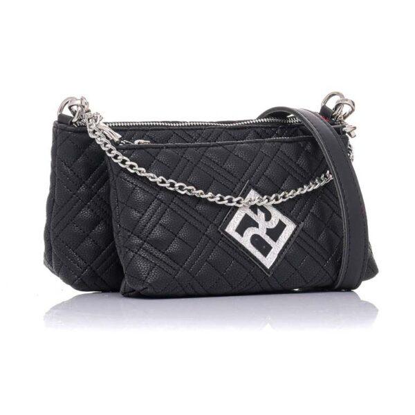 Τσάντα Χιαστί Διπλή Pierro Accessories 90631KPT01 BLACK