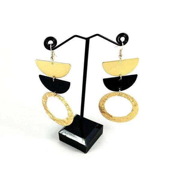 Σκουλαρίκια Με Μέταλλο Και Ξύλο
